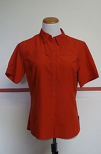 Patagonia Patagonia Redorange 100 Poly Short Sleeve Snap Front Shirt Great 13264