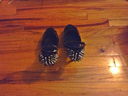 Patricia Field Spikes Spike Spiked Silver Funky Black Sandals