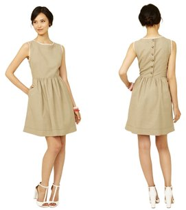 Paul & Joe short dress Beige Cotton Lace Trim Eyelet Buttons on Tradesy