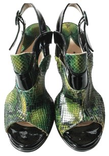 Paul Andrew Made In Italy New Leather Soles Snakeskin Black Trim Black/Green Pumps