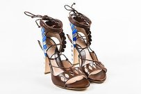 Paula Cademartori Brown White Multi-Color Sandals