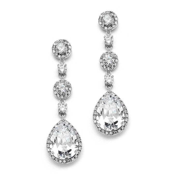 Pear-shaped Drop Bridal Earrings with Pave CZ