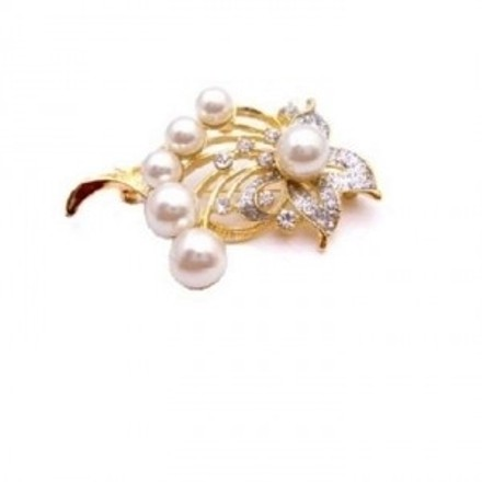 Pearls Brooch Bouquet Gold Framed Gift Bouquet Brooch Elegant & Dainty