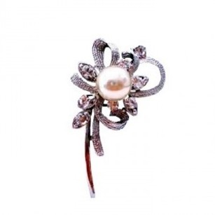 Pearls Brooch Pin Stem Cubic Zircon Brooch Excellent Perfect Gift Pin