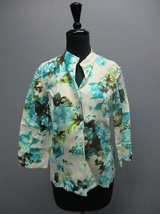 Peck & Peck And Cream Floral Long Sleeves Open Front Casual Sma11895 Top Cream/Turquoise