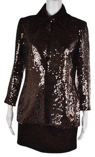 Peggy Jennings Peggy Jennings Womens Brown Textured Skirt Suit 68 Silk Above Knee Casual