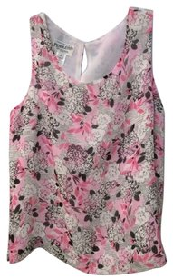 Pendleton 100 Silk Sleeveless Pink Black White Floral Lined Womens Top Multi-Color