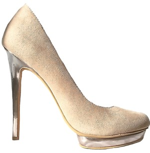 Penny Loves Kenny Suede Silver Platform Beige Pumps