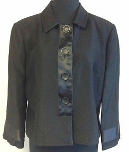 Philippe Adec Vintage Button Long Sleeve Satin Q607 Black Jacket