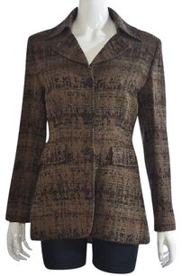 Philippe Adec Philippe Adec Womens Brown Blazer Textured Wool Wtw Jacket