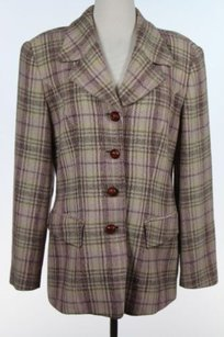 Philippe Adec Philippe Adec Womens Beige Brown Plaid Blazer Long Sleeve Basic Jacket