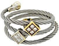 Charriol Philippe Charriol Solid 18k White & Yellow Gold Stainless Steel Cable .08ctw Diamond Wrap Ring