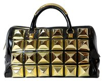 PHILLIP J PLEIN Large Studs Satchel in gold, black