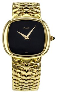 Piaget Men's 18k Solid Yellow Gold Hand-Winding Watch with Black Dial 9453 WTPGY