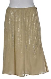 Piazza Sempione Womens A Line Silk Formal Skirt Beige