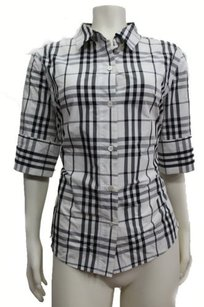 Pink Tartan Black Plaid Top White