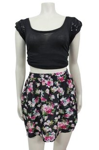 Pins and Needles Floral Skater Black Combo Urban Outfitters Skirt Multi-Color