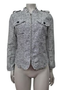 Piperlime Collection Cropped Tweed Full Zip black white silver Jacket