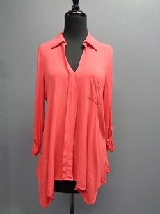 Pleione Long Sleeved V Top Coral