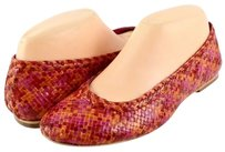 plenty by Tracy Reese Emely Orange Pink Leather Designer Woven Multi-Color Flats