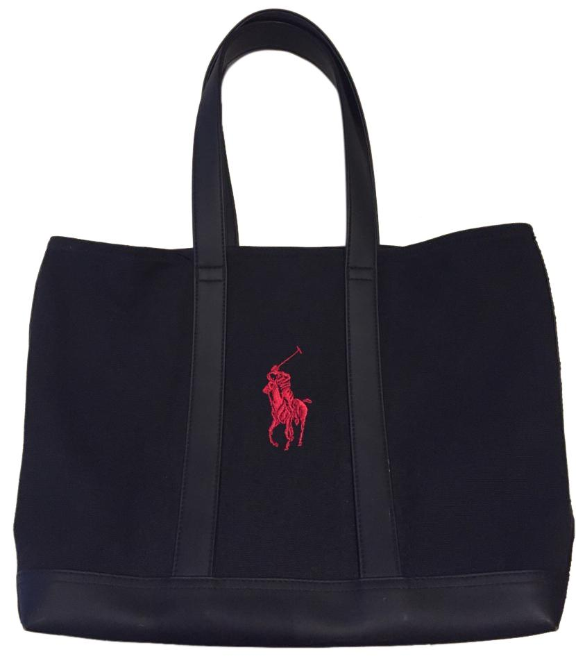 Polo Ralph Lauren Canvas Large Embroidered Tote in Black ...