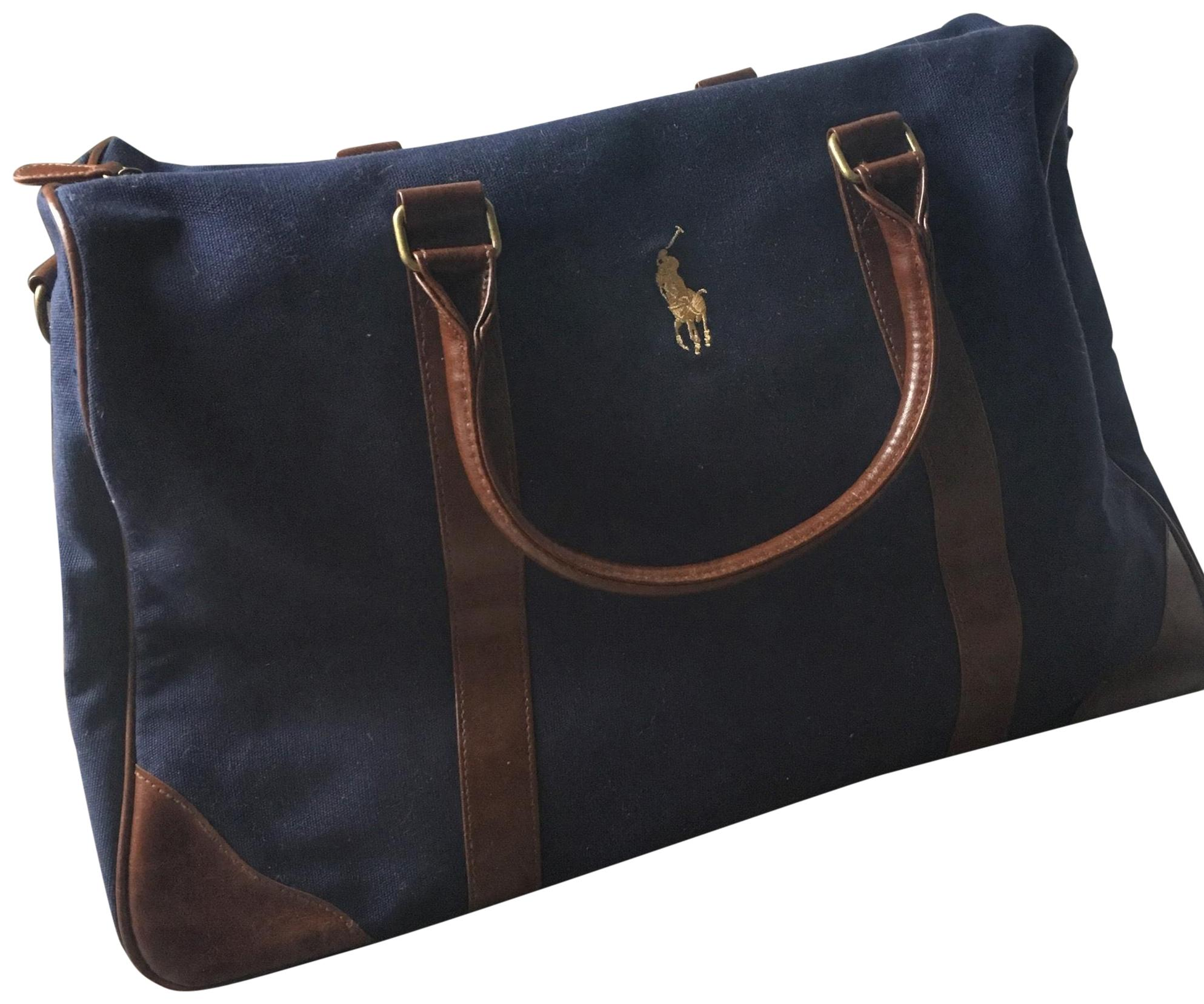 Polo Ralph Lauren navy/brown/gold Travel Bag ...
