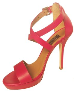 Polo Ralph Lauren Stiletto Sandal High Heels Leather Ankle Strap Red Pumps