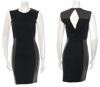 Ports 1961 Wool Panel Color-blocking Cut-out Keyhole Dress