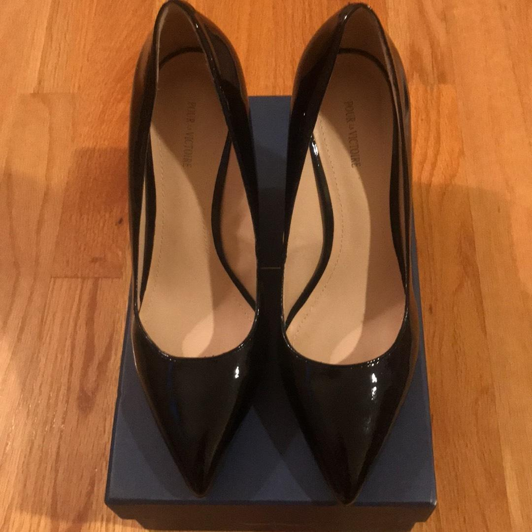 6b927f752839 ... Pour La Victoire Black Patent Mai Wedge Wedge Wedge In Leather Pumps  Size US 8.5 Regular ...