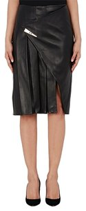 Prabal Gurung Leather Lambskin Pleated Wrap Skirt Black
