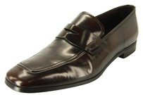 Prada Mens Brown Leather Penny Loafers Size 10 Us Logo Moccasin Dress Shoes 680