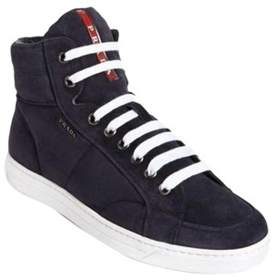 Prada Avenue High Top Blue Suede sneakers size 10.5 US 9.5 PS side zip logo men