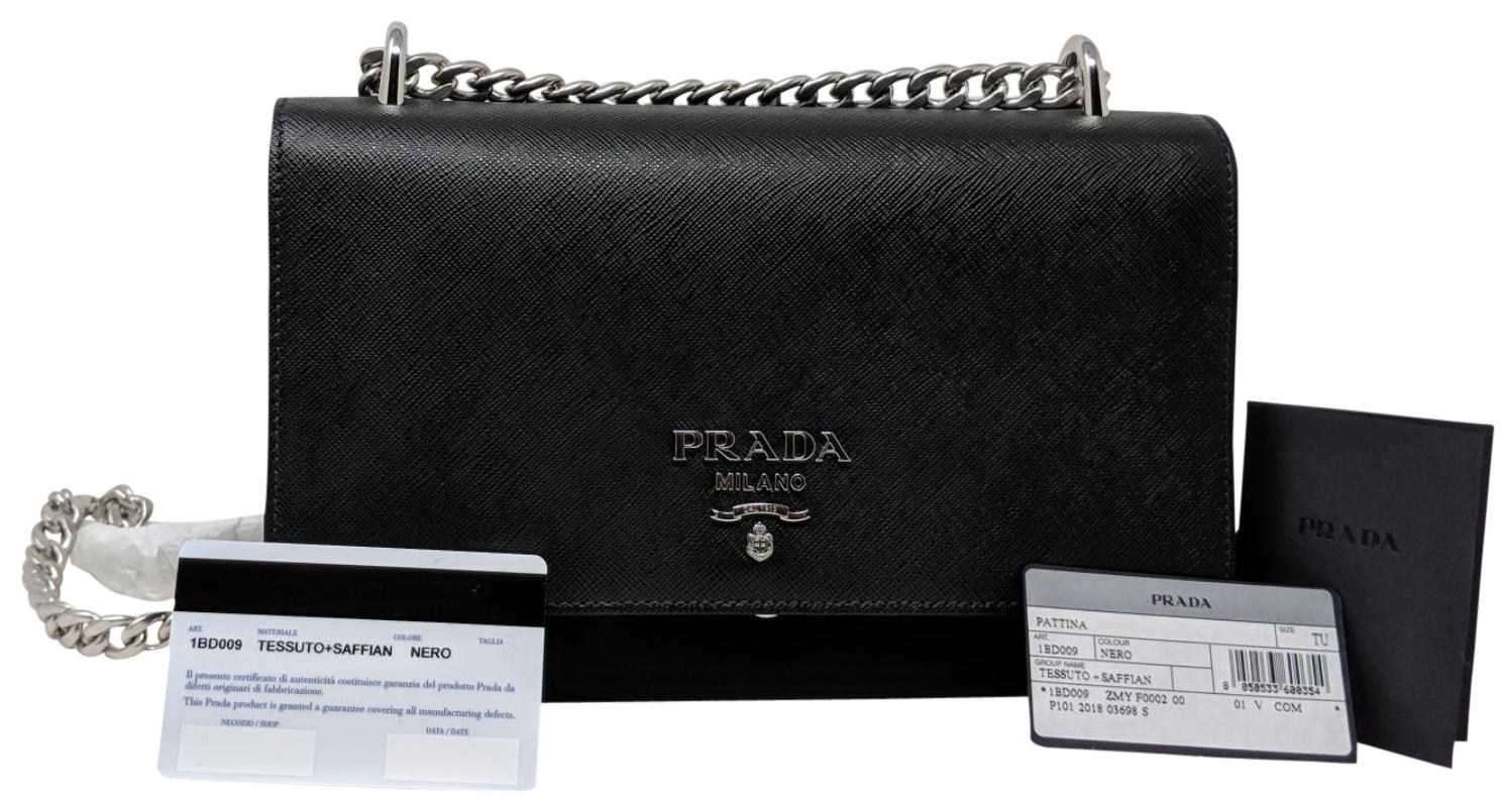 c47b310153aa ... best prada nylon saffiano leather chain shoulder bag f5972 74ab3