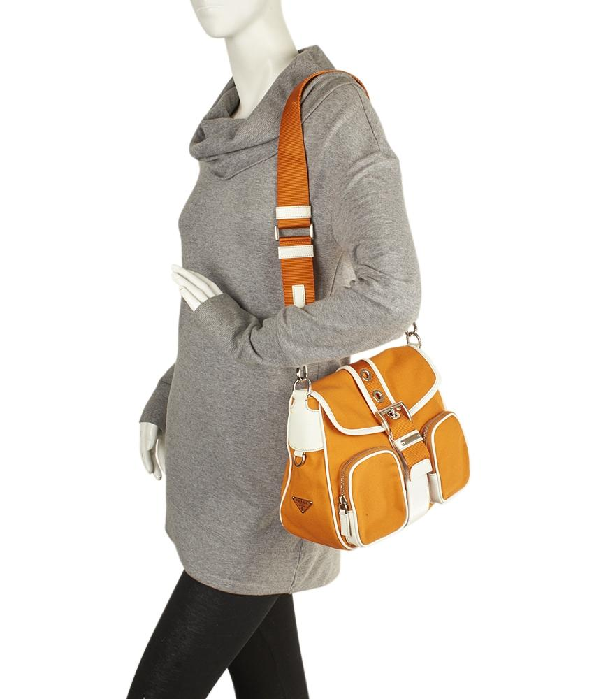 1cb706c84469 ... inexpensive prada 88321 orange white canvas leather cross body bag  tradesy bd001 cbf74