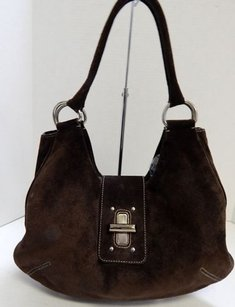 Prada Suede Leather Tote in Brown