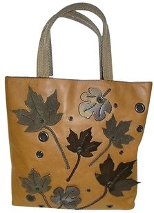 Prada Open With Suede Patent Leather Leaves On Front Tote in Browns