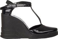 Prada Spazzolato Leather Wedges Eu Black Platforms