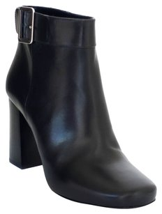 Prada Buckle Leather Ankle Black Boots