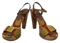 Prada Womens Orange Tan White Geo Print Textile Ankle Strap Green Sandals