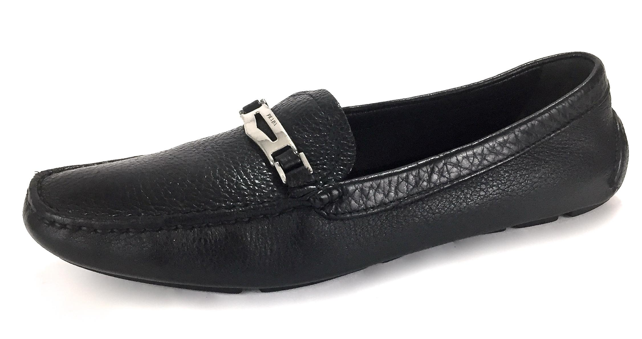 "Prada Black Milano Made In Italy Leather ""Driving Loafers Flats US Size EU 38 (Approx. US Flats 8) Regular (M, B) 70cded"