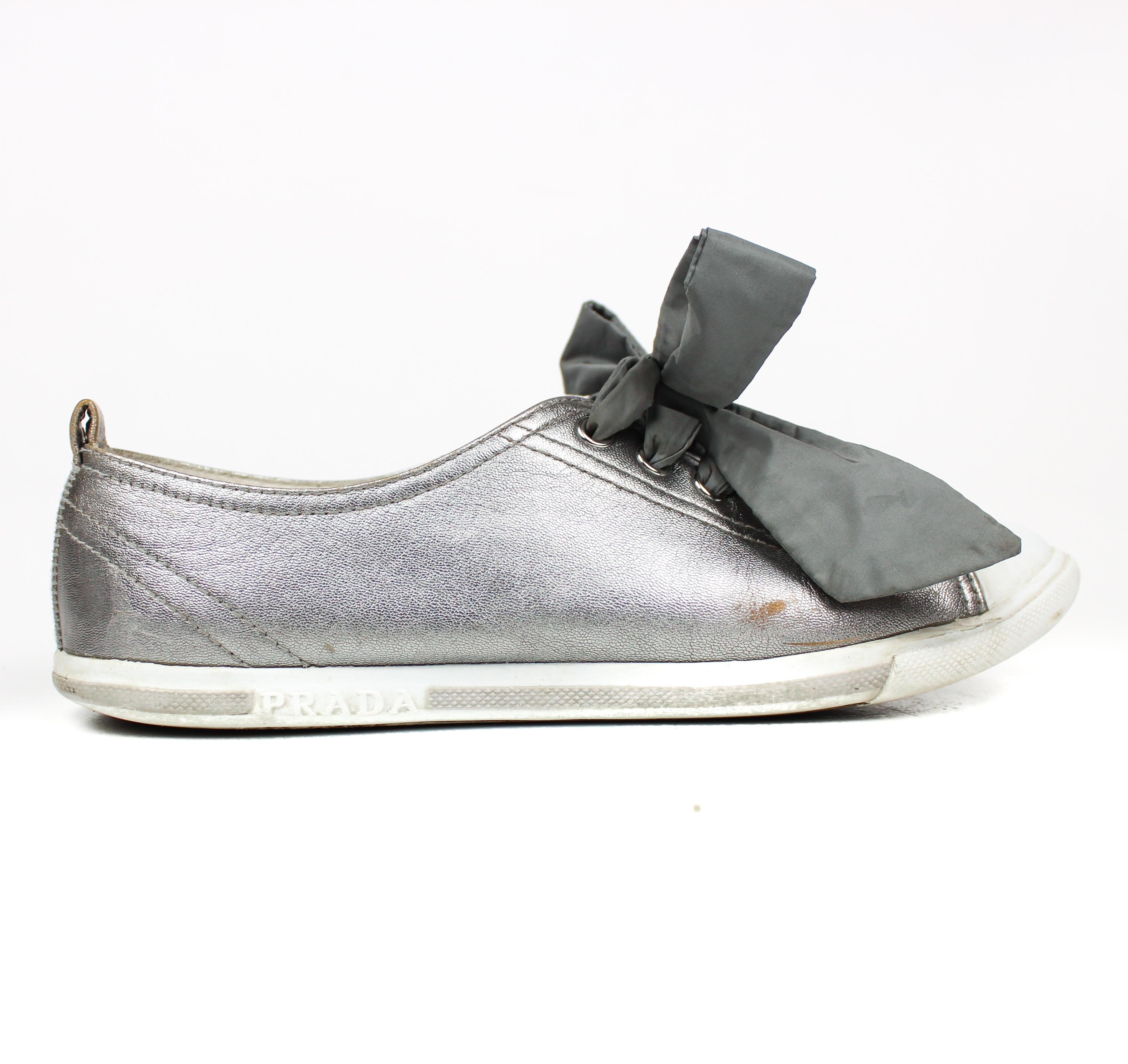 prada bow sneakers silver athletic shoes on sale 75