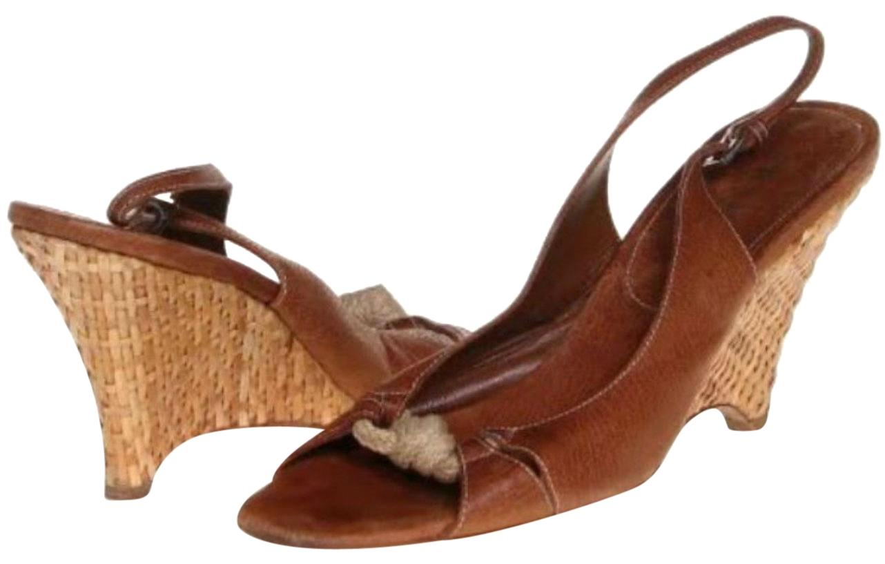Prada Brown and Beige Leather Slingback Spadrille Sandal Pumps Wedges Size US 10.5 Regular (M, B)
