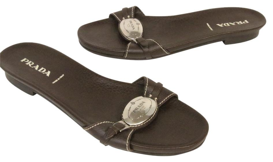 Prada Brown Soft Leather Sandals with Big Chrome Logo 10 Flats Size US 9 Regular (M, B)