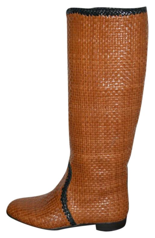 Prada Brown Woven Leather Riding 36 Boots/Booties Size US 6 Regular (M, B)