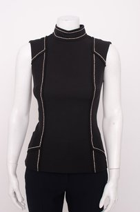 Prada Silk Wool Mock Neck Topstitch Structure Sleeveless Blouse 238s Top Black