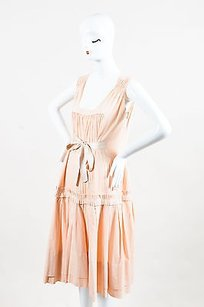 Peach Maxi Dress by Prada Cotton Pleated Waist