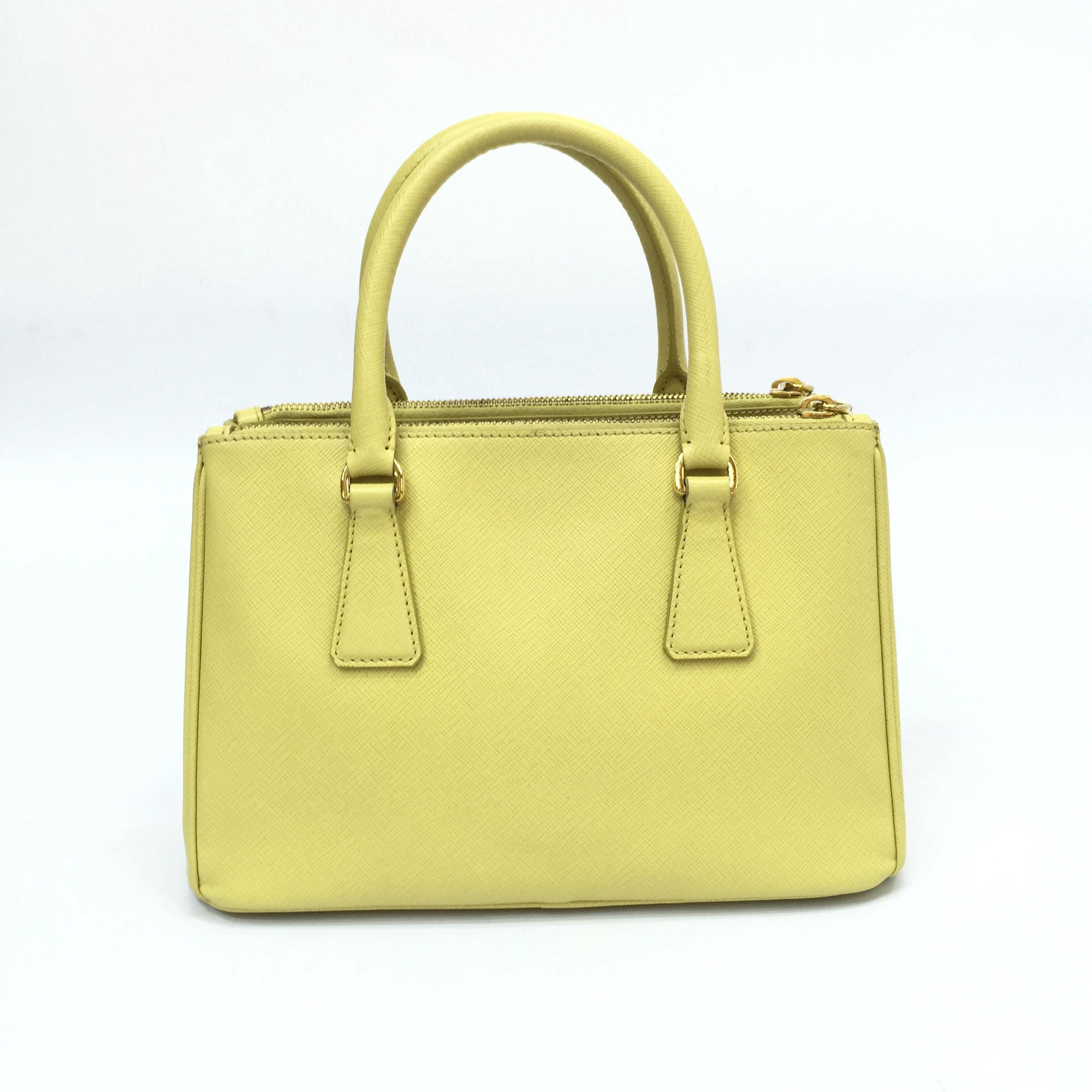 ... amazon prada double lux mini saffiano zip tote yellow leather satchel  tradesy 280fb 718f4 ce7e4cd78294e