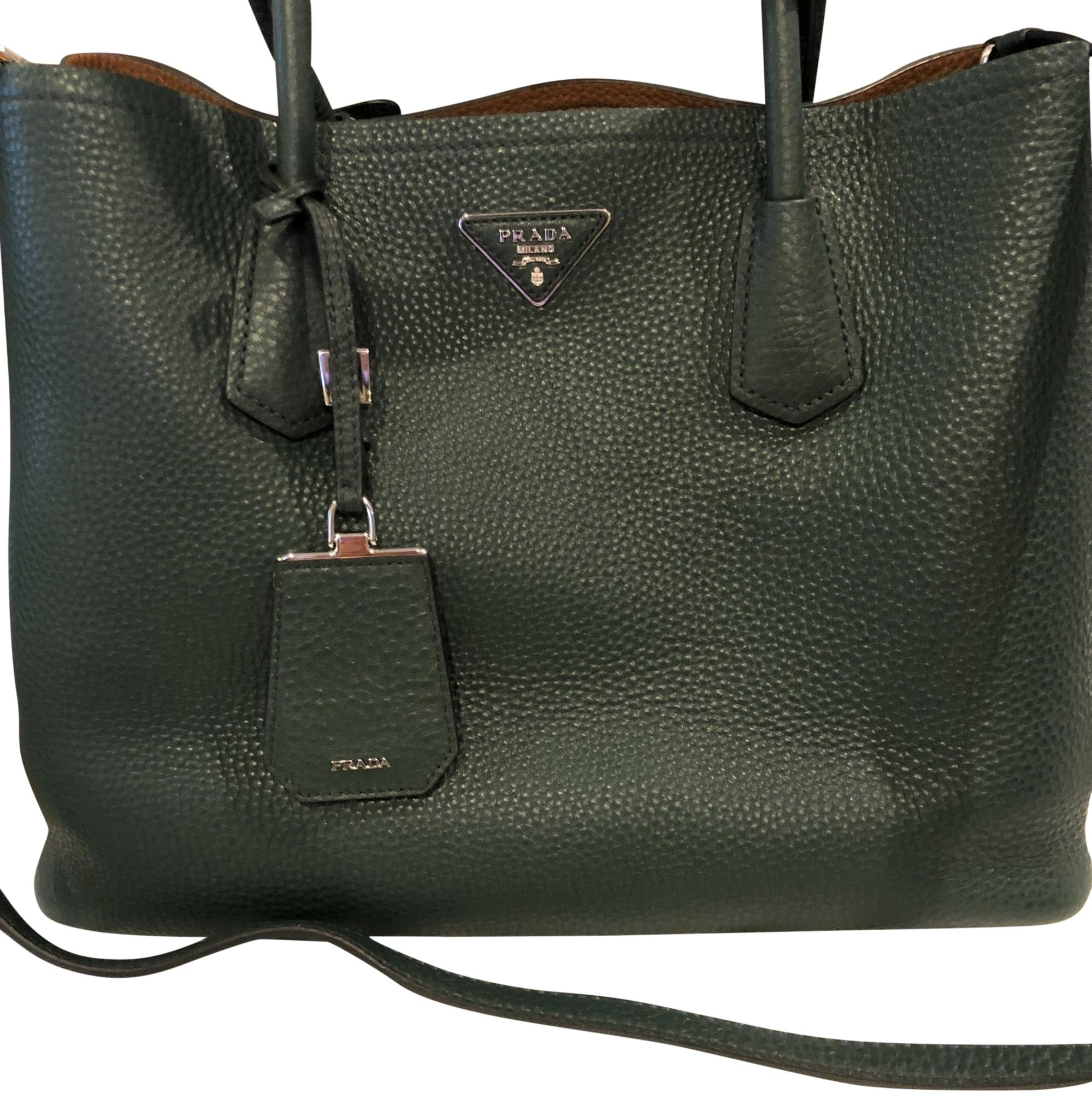 9ed9e0dd9ecc ... order prada tote in emerald green and tan b6c7e 47e29
