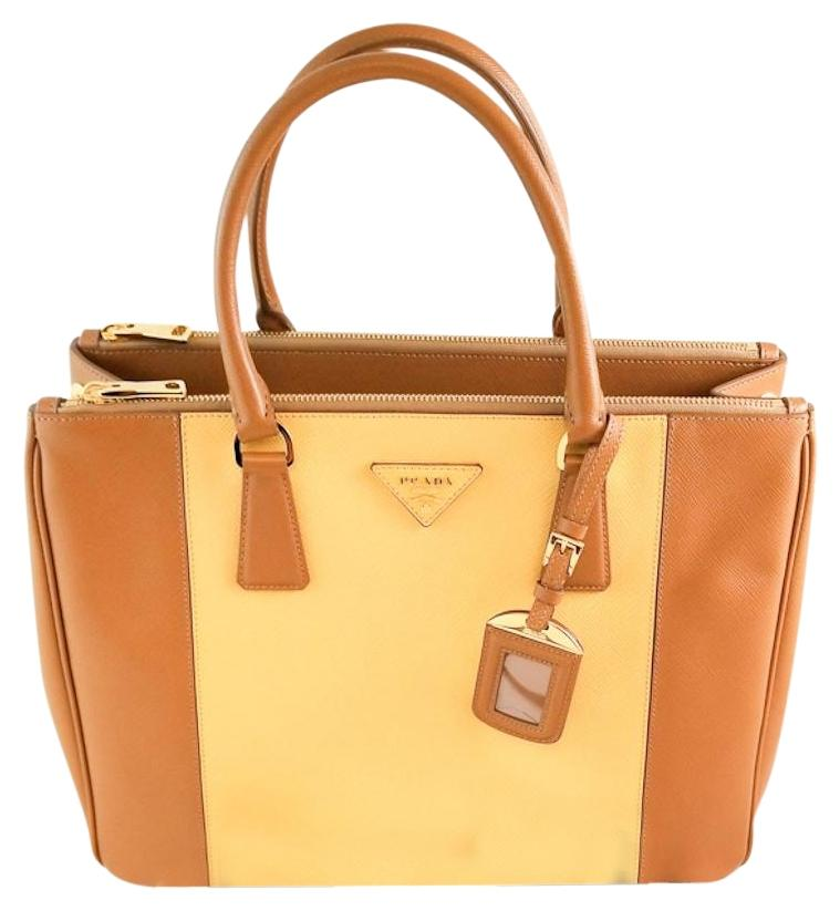 ... clearance prada saffiano leather dual double tote in tan 706c7 6a0fd 75f61e49e8