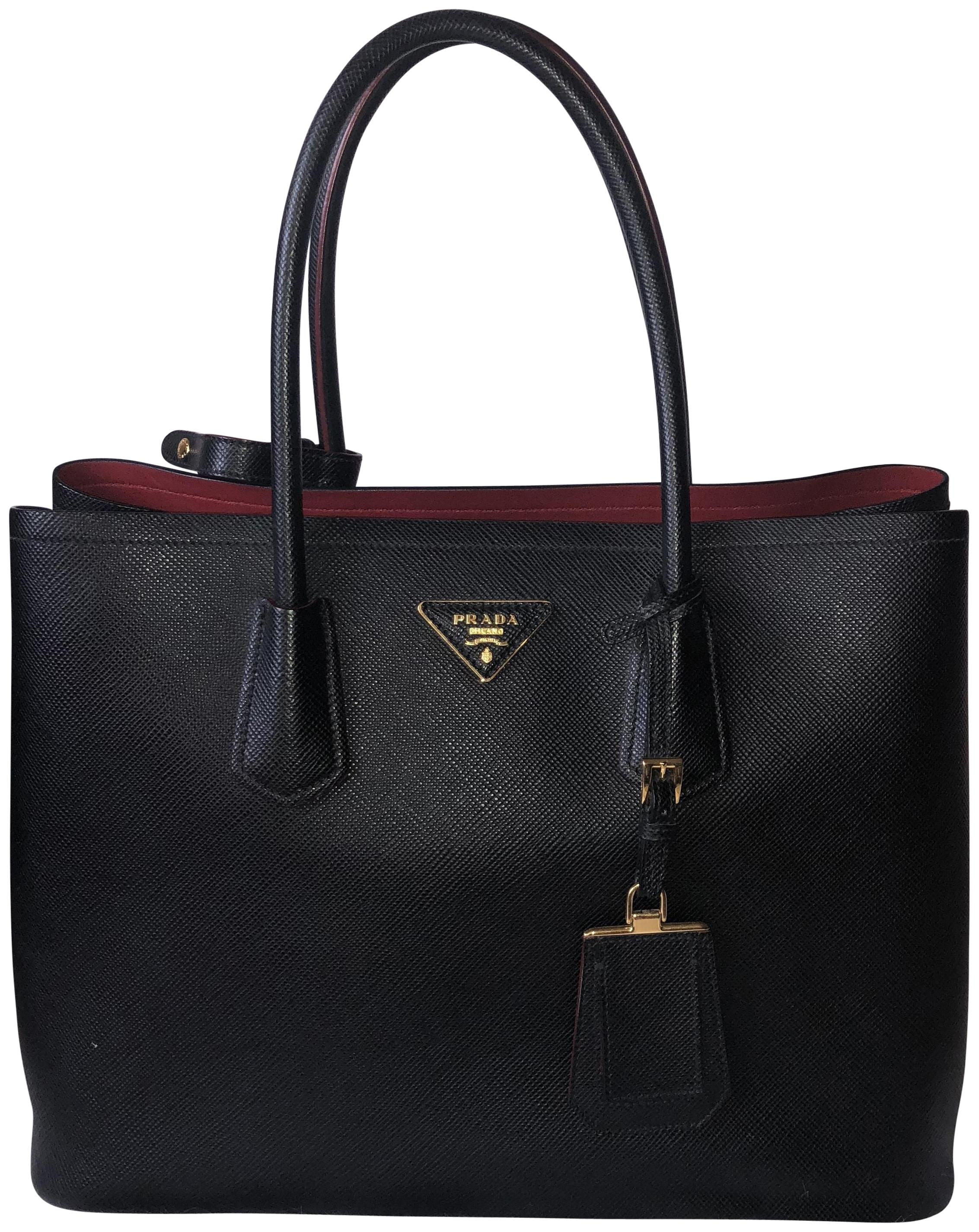 457d1fdad97 discount prada black red saffiano leather double handle tote bag bn2755  1dabb 3d3e9; free shipping prada tote in black and red 0e6a1 cdd65